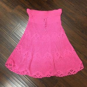 Hot pink crochet skirt - size small